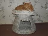 Дом для кошек из газетных трубочек